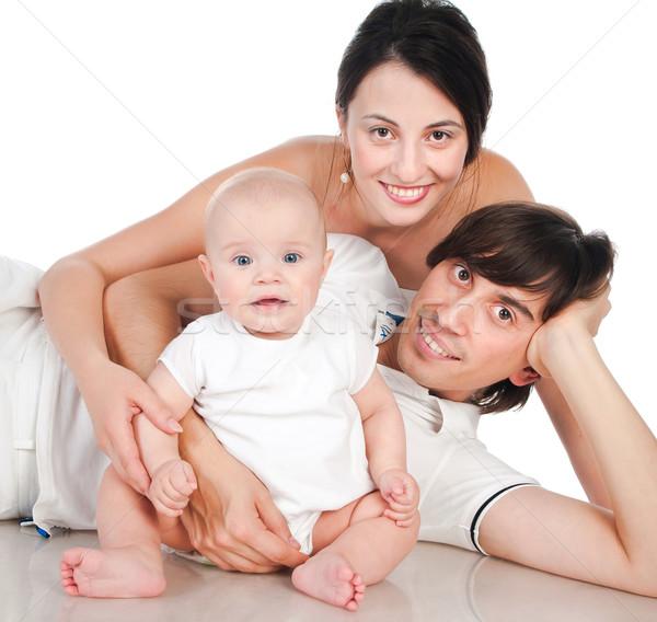 Família feliz retrato sorridente branco menina sorrir Foto stock © GekaSkr