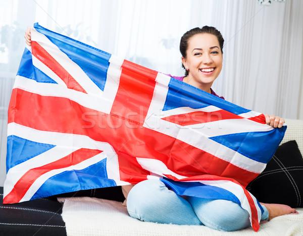 Menina britânico união bandeira Foto stock © GekaSkr