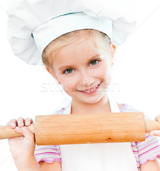 Kız pin haddeleme güzel küçük kız beyaz gıda Stok fotoğraf © GekaSkr