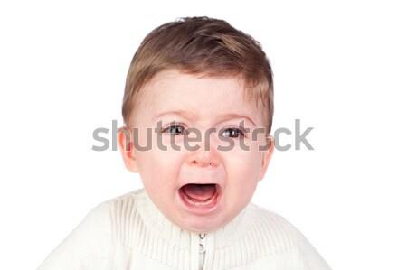 Stok fotoğraf: Güzel · bebek · ağlayan · yalıtılmış · beyaz · yüz