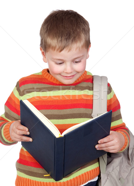 студент ребенка книгах изолированный белый лице Сток-фото © Gelpi