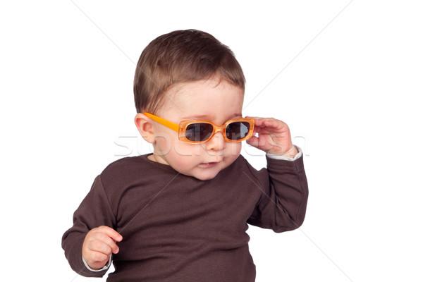 красивой ребенка Солнцезащитные очки изолированный белый лице Сток-фото © Gelpi