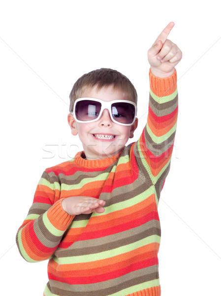 смешные ребенка Солнцезащитные очки изолированный белый лице Сток-фото © Gelpi