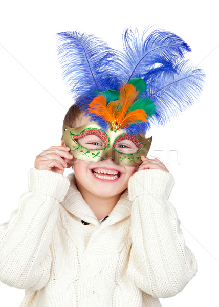 Adorable enfant carnaval masque isolé blanche Photo stock © Gelpi