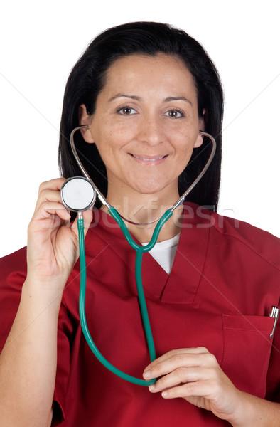 счастливым врач женщину прослушивании стетоскоп изолированный Сток-фото © Gelpi