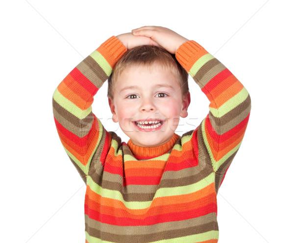 удивленный ребенка волос изолированный белый Сток-фото © Gelpi