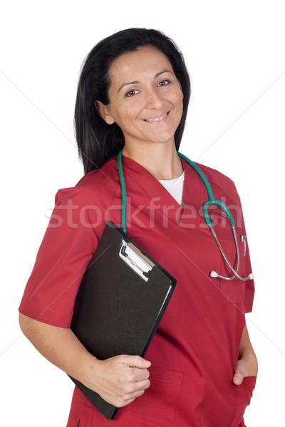 счастливым врач женщину одежду изолированный белый Сток-фото © Gelpi