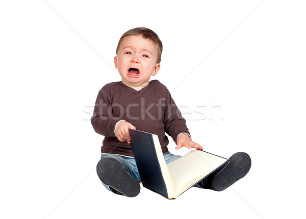 Stok fotoğraf: Güzel · bebek · kitap · ağlayan · yalıtılmış · beyaz