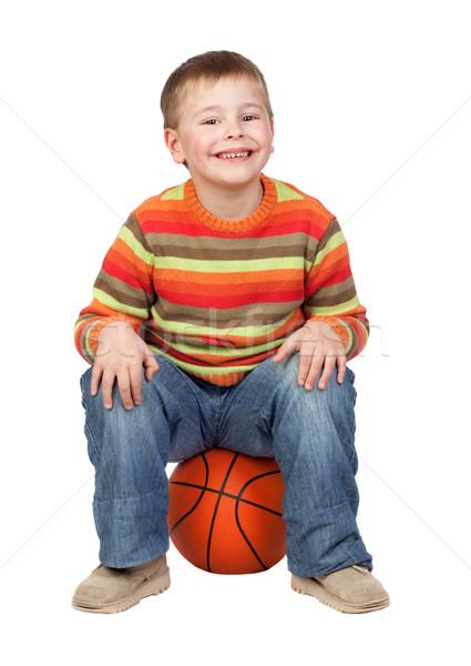 смешные ребенка баскетбол изолированный белый лице Сток-фото © Gelpi