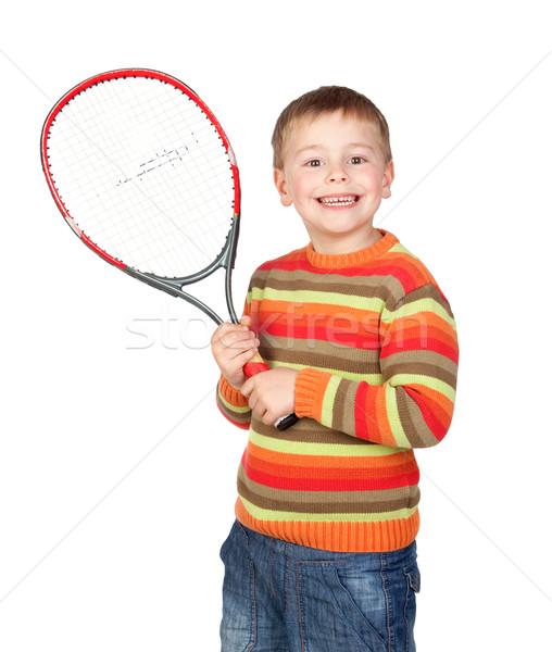 Grappig kind tennisracket geïsoleerd witte gezicht Stockfoto © Gelpi