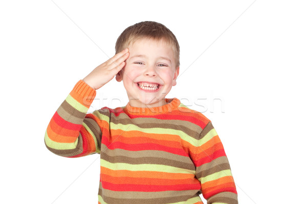 Stock photo: Adorable child doing a military salute