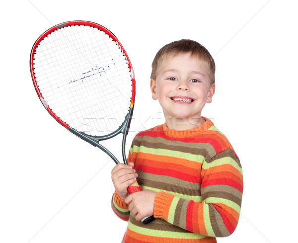 смешные ребенка Теннисная ракетка изолированный белый лице Сток-фото © Gelpi