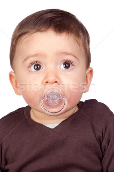 красивой ребенка соска изолированный белый лице Сток-фото © Gelpi