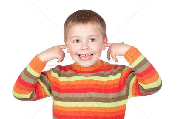 смешные ребенка ушки изолированный белый лице Сток-фото © Gelpi