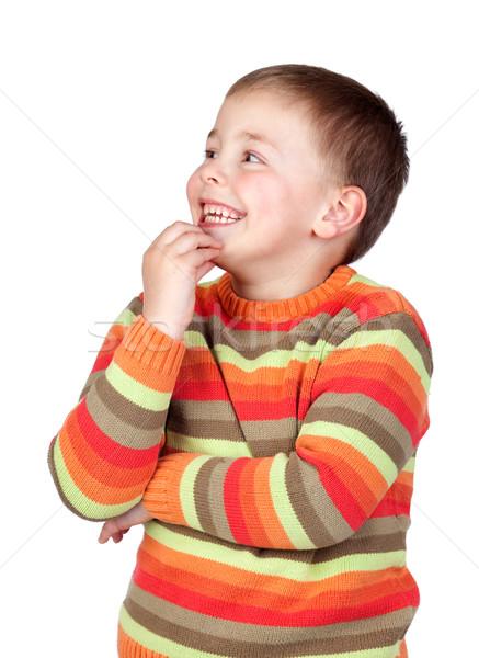 задумчивый ребенка волос изолированный белый Сток-фото © Gelpi