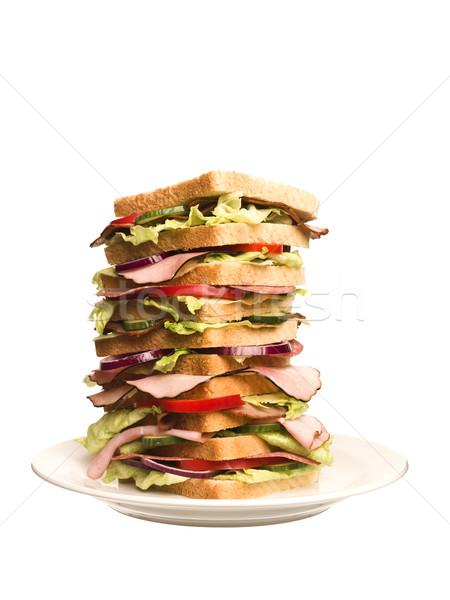 Túlméretezett szendvics izolált fehér étel kenyér Stock fotó © gemenacom