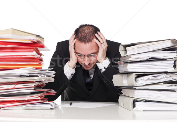 Hard working man in an office Stock photo © gemenacom