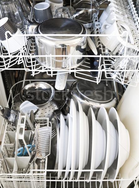 Bulaşık makinesi temizlemek beyaz yıkama çanak çömlek tazelik Stok fotoğraf © gemenacom