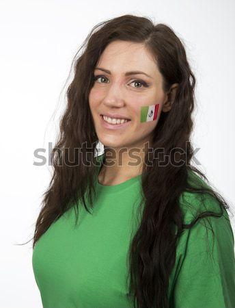Kamerun dziewczyna młoda dziewczyna banderą malowany policzek Zdjęcia stock © gemenacom
