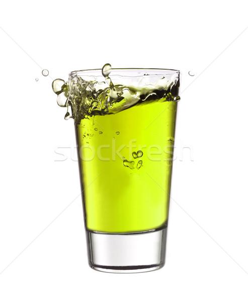 Csobbanás üveg zöld limonádé ital koktél Stock fotó © gemenacom