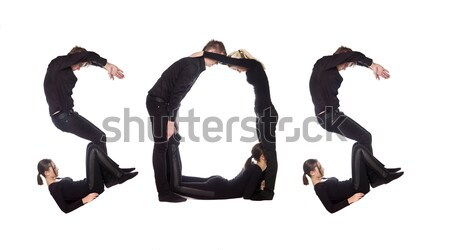 Group of people forming the word 'SOS' Stock photo © gemenacom