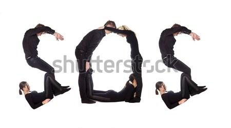 группа людей слово СОС изолированный белый мужчин Сток-фото © gemenacom
