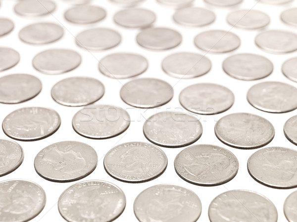 Trimestre monedas blanco moneda bancario macro Foto stock © gemenacom