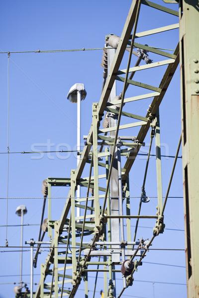 Tensione line alta tensione cielo blu cavo Foto d'archivio © gemenacom
