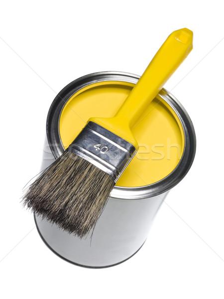 Citromsárga festékes flakon ecset izolált fehér festmény Stock fotó © gemenacom