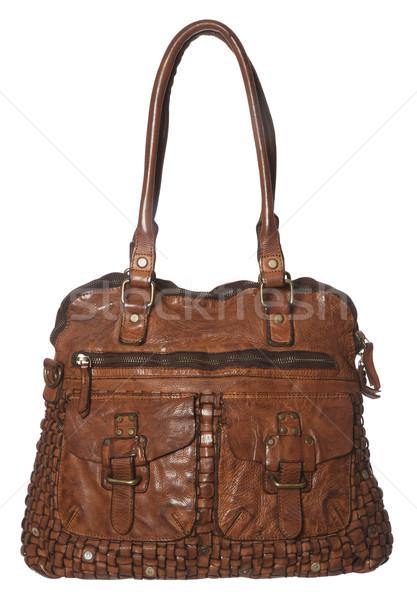 Kahverengi deri çanta yalıtılmış beyaz dizayn Stok fotoğraf © gemenacom