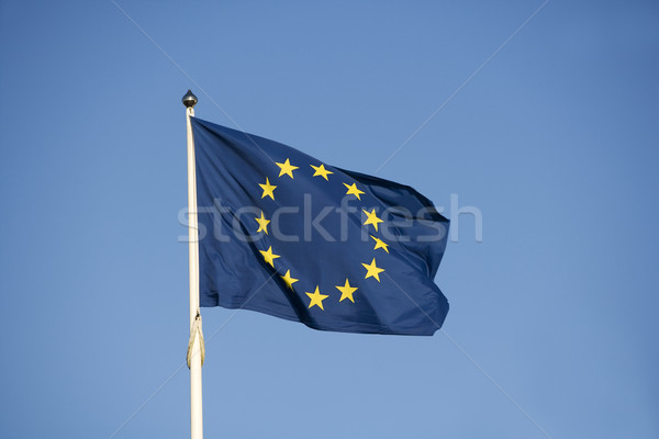 EU zászló kék ég piros felhő szél Stock fotó © gemenacom