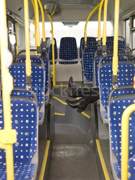 Anonimowy autobus osoby okno buty krzesło Zdjęcia stock © gemenacom