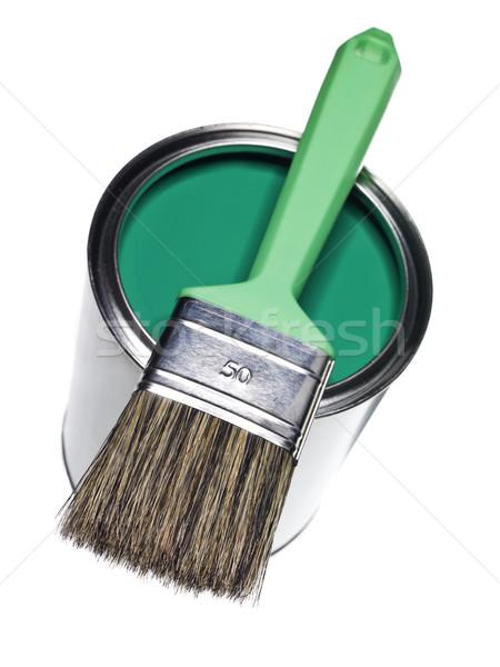 Zöld festékes flakon ecset izolált fehér festmény Stock fotó © gemenacom