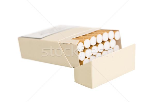 Foto d'archivio: Pack · sigarette · isolato · bianco · finestra · sigaretta