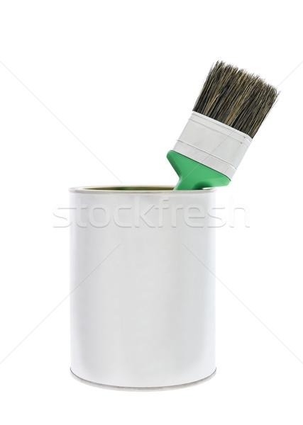 Festékes flakon zöld ecset izolált fehér festék Stock fotó © gemenacom