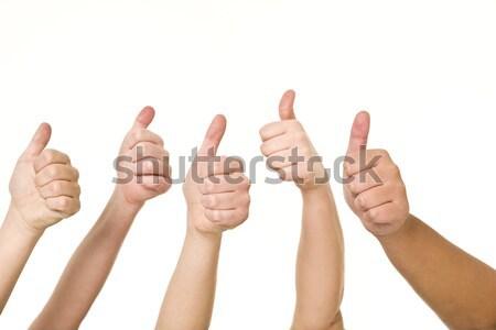 öt kezek remek izolált fehér üzlet Stock fotó © gemenacom