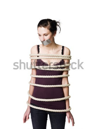 Tied up woman with tape over her mouth Stock photo © gemenacom