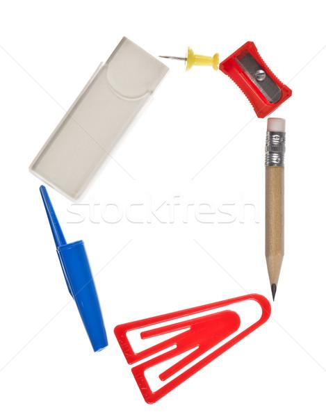 O betű irodaszerek izolált fehér üzlet papír Stock fotó © gemenacom