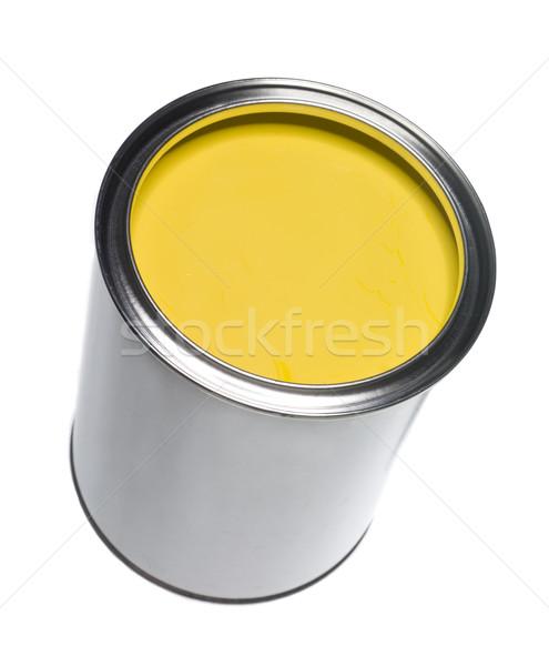 Citromsárga festékes flakon izolált fehér festmény folyadék Stock fotó © gemenacom