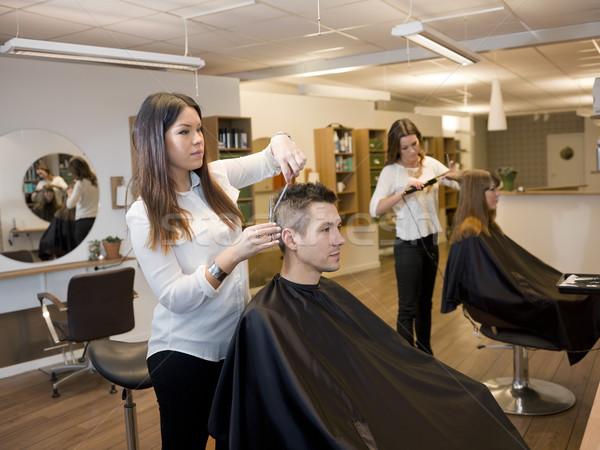 Schoonheidssalon situatie klanten schoonheid winkel man Stockfoto © gemenacom