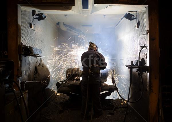 Sanayi adam Metal yangın fabrika Stok fotoğraf © gemenacom