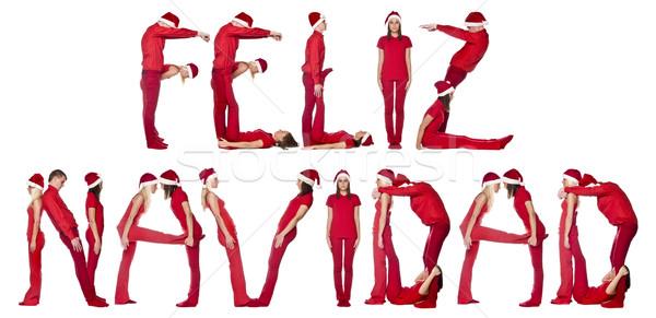 Elfs forming the phrase 'FELIZ NAVIDAD' Stock photo © gemenacom