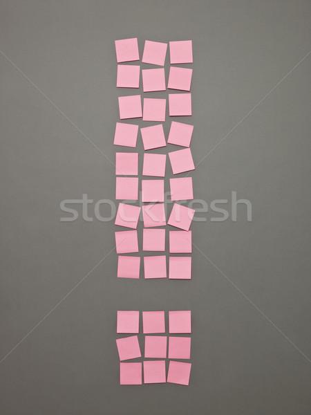 Yapışkan notlar pembe gri kâğıt Stok fotoğraf © gemenacom
