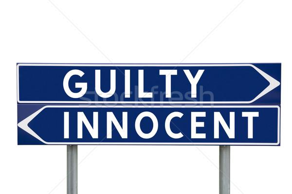 Culpado inocente azul direção sinais escolha Foto stock © gemenacom