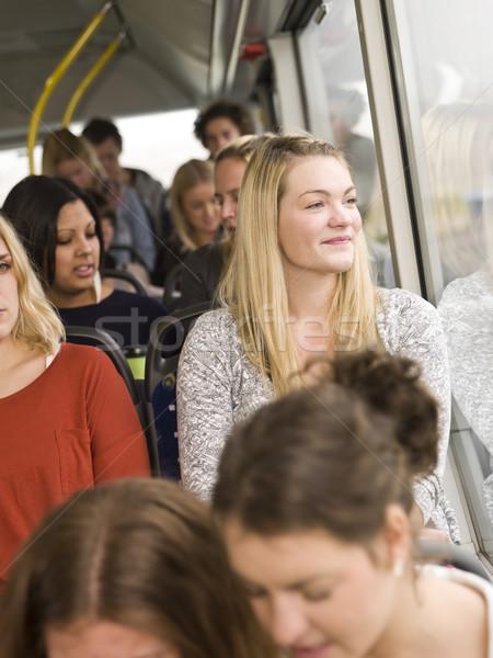 Gelukkig vrouw venster bus vrouwen schoonheid Stockfoto © gemenacom