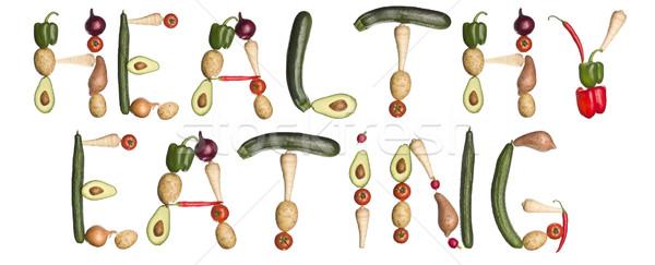 Stock fotó: Kifejezés · egészséges · étkezés · ki · zöldségek · izolált · fehér