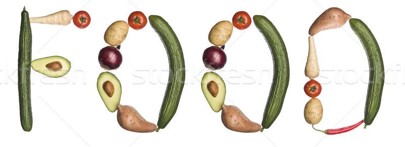 Stock fotó: Szó · étel · ki · zöldségek · izolált · fehér