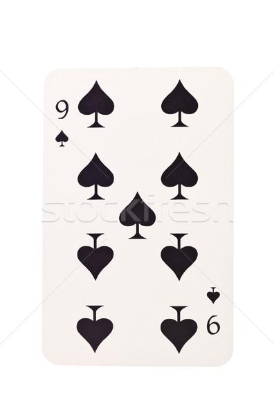 Negen spades geïsoleerd witte zwarte succes Stockfoto © gemenacom
