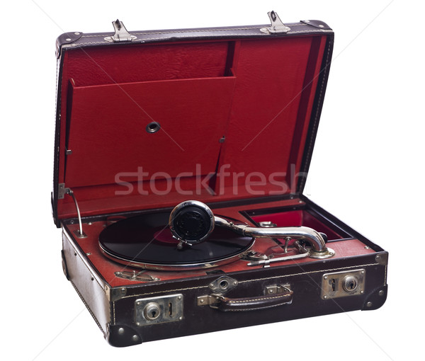 Vintage tourne-disque isolé blanche rouge Turntable Photo stock © gemenacom