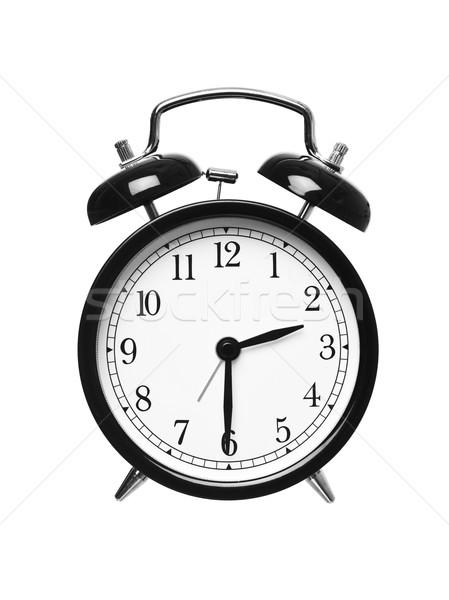 Yarım geçmiş iki çalar saat yalıtılmış beyaz Stok fotoğraf © gemenacom